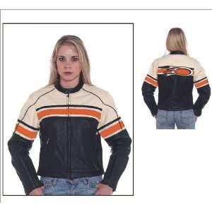 Womens Leather Motorcycle Jacket, Cream Upper Half with Orange Stripe