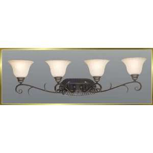 Wrought Iron Wall Sconce, JB 7374, 4 lights, Oiled Bronze, 37 wide X