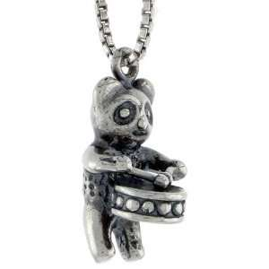 925 Sterling Silver Drum playing Panda Bear Pendant (w/ 18