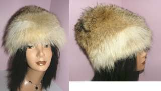 BEAUTIFUL REAL COYOTE FUR HAT 23 WARM ELEGANT