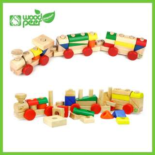 Wooden Stacking Blocks Baby Childs Educational Toy Train Travel New