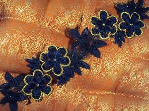 NAVY BLUE GOLD Beaded Applique FLOWERS LEAVES 2.5x10.5