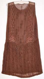 Art Deco Vintage Brown Silk Chiffon Pink Shell Beaded Drop Waist