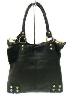 NWT LINEA PELLE Italian Leather Black Dylan Tote Bag