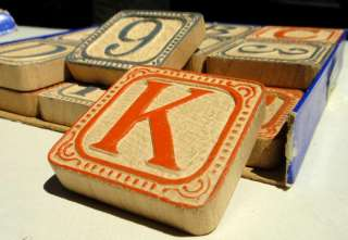 antique victorian ALPHABET ABC WOOD TOY BLOCKS w/BOX