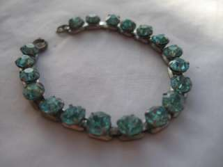 Gorgeous Antique Art Deco Blue Aqua Marine Rhinestone Signed