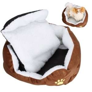 Pet Cat Dog Bed Cuddler Bed Pad Mat   Coffee and White