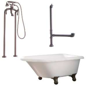 Feet, Drain, Support Brace, and Floor Mount Faucet with Hand Shower