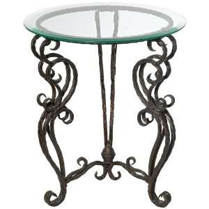 Josette Glass and Metal Accent Table