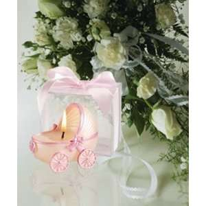 Baby carriage candle; pink trim; PVC box   carriage