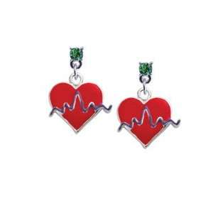 Red Heart with Rhythm Line Peridot Swarovski Post Charm