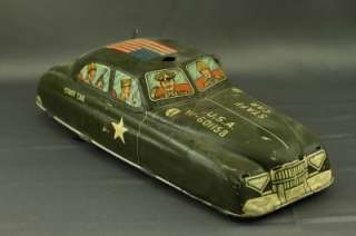 Metal Toy Tin Litho Friction Military Staff Car USA W 601158