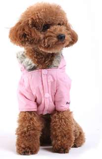 Pink Warm Coat Hoodie Jacket Dog Clothes Apparel new