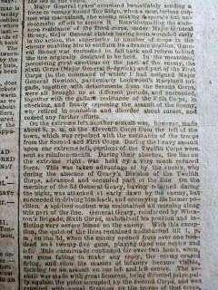 1863 Confederate Civil War newspaper BATTLE of GETTYSBURG Long