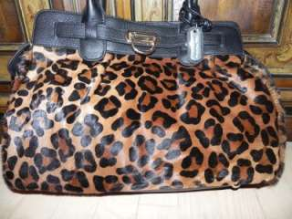MADONNA leopard cow hair fur large leather bag tote purse Saks $500
