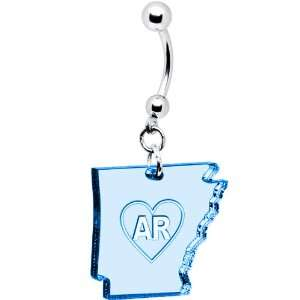 Light Blue State of Arkansas Belly Ring Jewelry