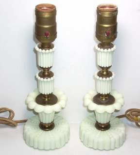 Hollywood Regency/ Art Deco Slag Glass Boudoir Lamps