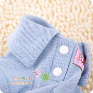 BLUE Pet Clothes Classic COTTON DOG Clothes Apparel POLO T Shirts XS,S
