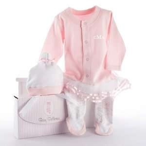 Baby Ballerina Two Piece Layette Set in Studio Gift Box PERSONALIZED