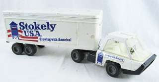 Vintage Ertl Stokely USA Tin Metal Semi Truck w/ Trailer