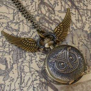Steampunk pocket watch necklace pendant OWL wings