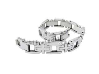 Mens Silver Cross Stainless Steel Chain Bracelet Bangle SB37
