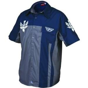 Fly Racing Pit Mens Polo Casual Shirt   Navy/Grey / X