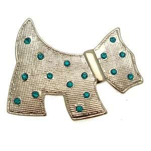 Acosta Brooches   Silver Colored with Aqua Crystal   Scottish Terrier