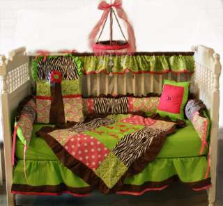 Brown Zebra/Hot pink/Lime Damask Baby bedding set