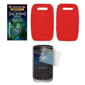 Solid Red Silicone Gel Skin Cover Case + Screen Protector