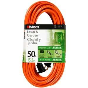 Woods 723 16/2 Vinyl SJTW Extension Cord, Orange, 50 Foot
