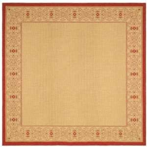 Inch Square Indoor/ Outdoor Square Area Rug, Natural and Red Home