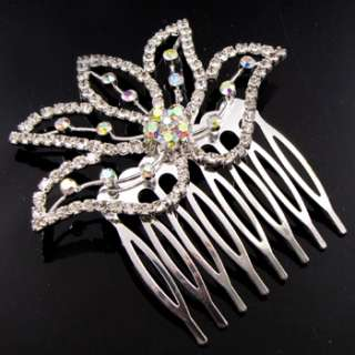 ADDL Item  clear Austrian rhinestone flower hair comb