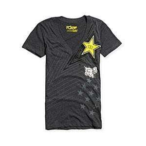 Fox Racing Womens Rockstar Pop Icon V Neck   Large/Charcoal Heather