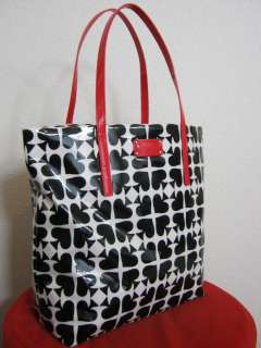 NEW KATE SPADE ACE OF SPADES BON SHOPPER TOTE NAT/BLACK