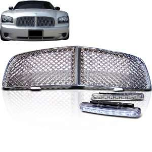 2010 Dodge Charger Chrome Front Mesh Grille Grill + 8 Led Bumper Light