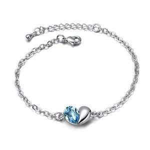 Jewelry   Love Heart Women Bracelet with Aqua Blue Crystal Jewelry