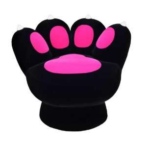 LumiSource CHR PAW BK+HP Paw Chair, Black/Hot Pink