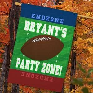 Personalized Football Party Zone House Flag Patio, Lawn & Garden