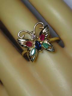 ESTATE 14K Y/GOLD EMERALD RUBY BLUE SAPPHIRE DIAMOND BUTTERFLY RING s7