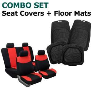 Modern Flat Cloth Seat Covers and Black Rubber Floor Mats Automotive