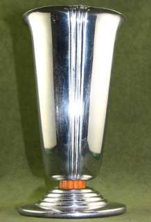 CHASE ART DECO MACHINE AGE MODERNIST CHROME & YELLOW BAKELITE VASE