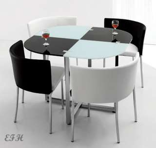 5PC MODERN CHRONO GLASS CHROME METAL DINING TABLE SET