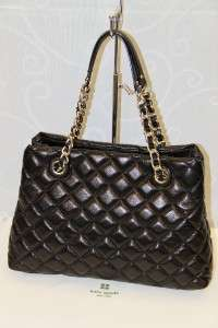 Kate Spade Gold Coast Maryanne Quilted Black Leather Satchel Bag #KS