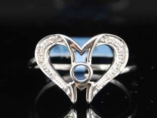 LADIES WHITE GOLD DIAMOND MOM MOTHER HEART LOVE RING