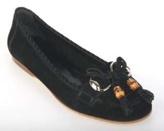 BLACK SUEDE HORSEBIT BAMBOO DETAIL MOCCASINS FLAT SHOES 37.5
