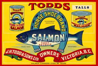 Todds Horse Shoe Brand Salmon label poster