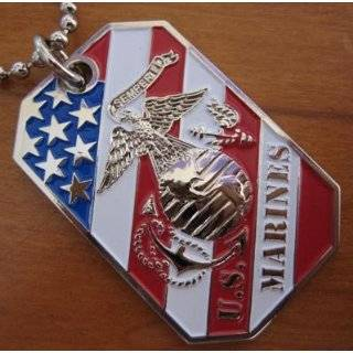 USMC MARINE CORPS EGA CREST FLAG PENDANT DOG TAG BALL CHAIN NECKLACE