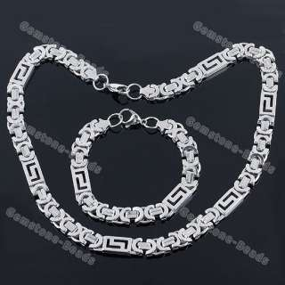 Cool Stainless Steel Chains Bracelet and Necklace set Mens Fashion