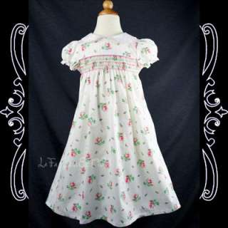 Girls Smocked/Summer/Floral Dress, White NEW 2 3 years
